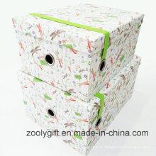 Caja de regalo personalizada de almacenamiento de papel con banda elástica