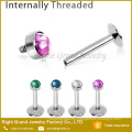 316L Surgical Steel Synthetic Fire Opal Tragus Helix Labret Piercing
