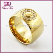 Ouro anel banhado anel de dedo grande com cristal