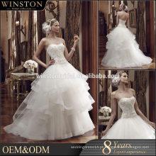 Novo vestido luxuoso de casamento transparente de alta qualidade