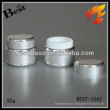 Tarro de aluminio de la acción 50g, tarro del metal, tarro poner crema al por mayor
