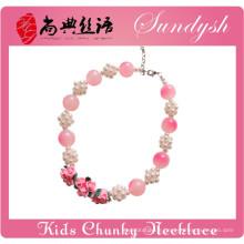 Belle fleur d'argile à la main perle boule rose perle filles Chunky collier