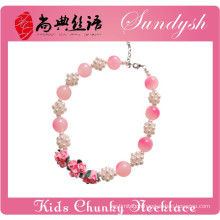 Beautiful Handmade Clay Flower Pearl Ball Pink Bead Girls Chunky Necklace