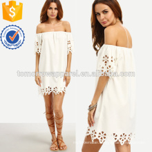 Scallop Hollow Out Hem Bardot Dress Manufacture Wholesale Fashion Women Apparel (TA3177D)