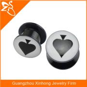 Acrylic heart shaped tunnel ear plug thread plug gauge costume fashion jewelry