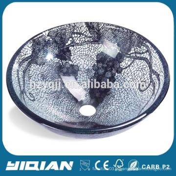 Home Beautiful Glass Bowl Évier double vitrage pour salle de bain Vanity Nouveau design Évier de cuisine en verre trempé