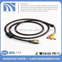 Hochwertiges rotes Nylon Netz 5 FT 1.5M HDMI zum Handelskabel 3RCA Video Audiokabel