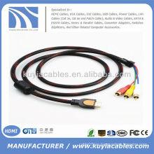 Red de nylon roja de alta calidad 5 FT 1.5M HDMI al cable del sistema de pesos americano Cable de audio video 3RCA