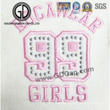 High Quality Wholesale Rhinestone Patch Logo Bordado para Casaco Vestuário