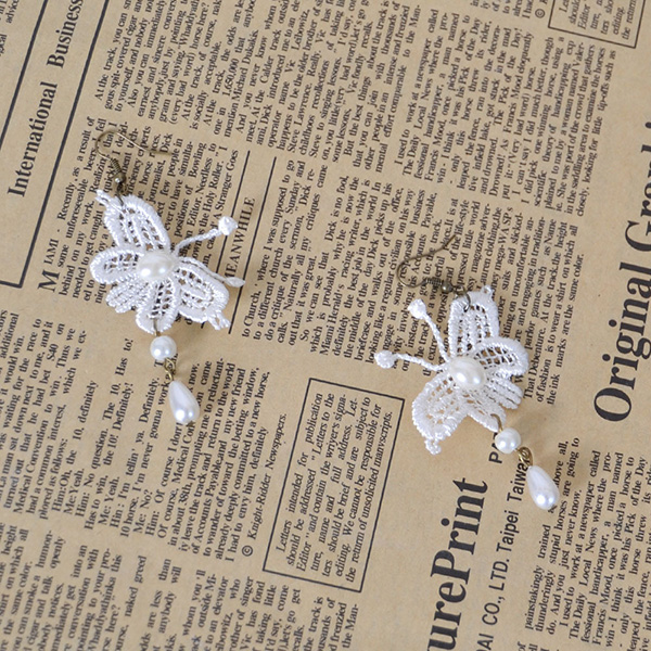 White Butterfly Pearl Earrings