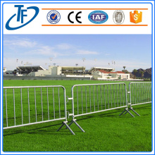 Galvanized metal pedestrian barriers fence