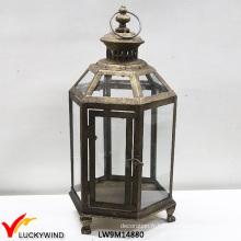 Verre en verre rustique Lanterne suspendue en métal et bougie vintage