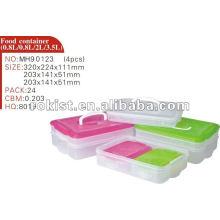 armazenamento, recipiente, Easylock 4 pcs definir caixa de congelador de plástico