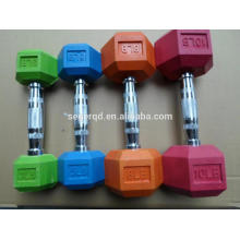 color rubber hex dumbbells in kg or lb
