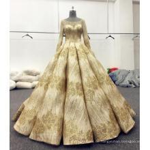 Gold glänzende lange Ärmel Brautkleid Brautkleider 2017