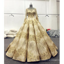 Gold shining long sleeve wedding dress bridal gowns 2017