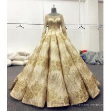 Ouro brilhante vestido de noiva manga longa vestidos de noiva 2017