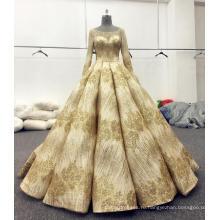 Золото блестящие с длинным рукавом свадебное платье свадебные платья 2017