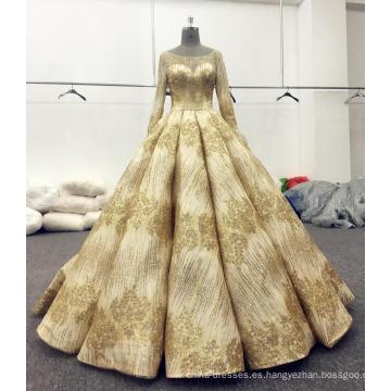 Vestido de novia de manga larga brillante oro vestido de novia 2017