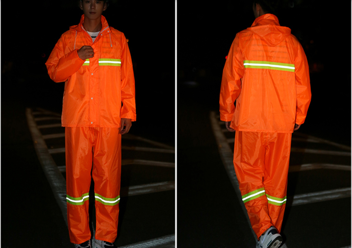 orange reflective raincoat
