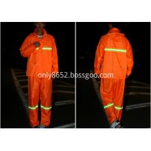High vis orange reflective raincoat