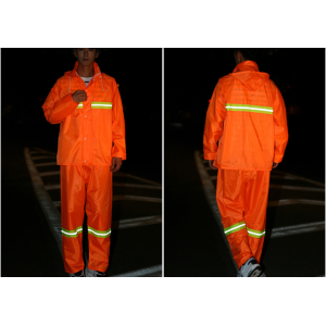 High vis orange reflective raincoat
