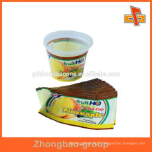 Heat shrink colored printed plastic cup label for jelly packaging