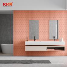 Bathroom vanity wash basin cabinet with solid surface basin