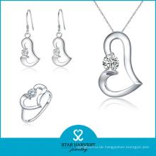 China Hersteller Günstigen Preis Silber Zirkon Ring und Ohrring (J-0122)