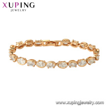 75778 xuping 18k banhado a ouro charme da moda imitação de cristal pulseira