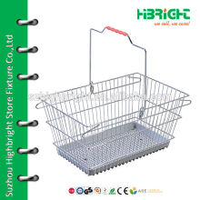 zinc plating metal wire shopping basket with plastic plate