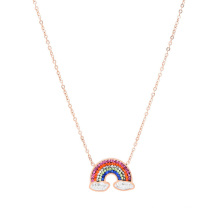 European American Color Jewelry Diamond Rainbow Pendant Short Thin Chain Clavicle Chain Titanium Steel Stainless Steel Necklace for Women