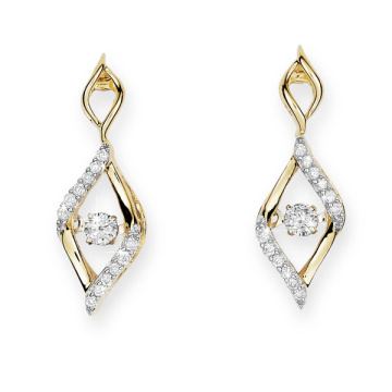 Gold Plate 925 Silver Stud Earrings Dancing Diamond Jewelry