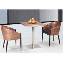 Cómodo restaurante de madera Cafe Arm Chair y mesa de café (FOH-BCA22)