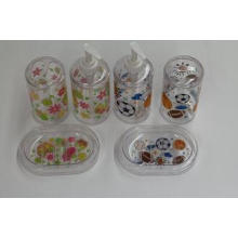 Clear Bathroom Set With Lotion Bottle , Toothbrush Holder ,