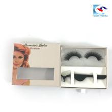 China Fabrik benutzerdefinierte Logo Box falsche Wimpern Verpackung Box mit klarem Fenster