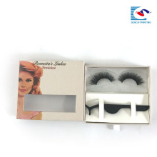 China factory custom logo box false eyelash packaging box with clear window