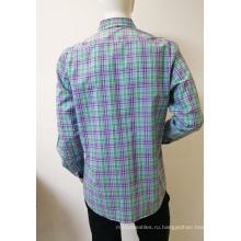 100% хлопковая мужская клетчатая деловая рубашка с длинным рукавом