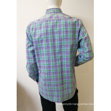 100%COTTON men's check long sleeve business shirt