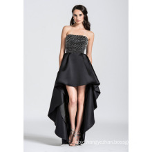 Strapless Beaded High Low Evening Dress