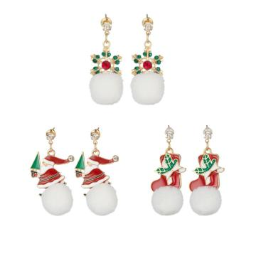 Women Christmas Dangle Earrings Set Snowflake Santa Claus Sock Girls Fashion Simple Hairball Drop Ear Rings Jewelry