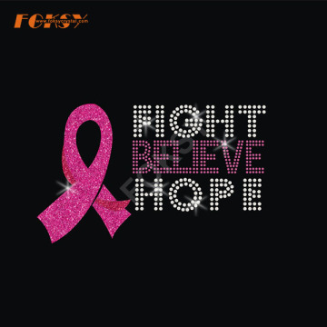Fight Believe Hope Pink Ribbon Heat Rhinestone Motif