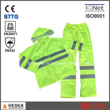 PVC En20471 High Visibility Man Safety Reflective Rain Suit
