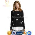 Сплошной Цвет Звезда Паттен Интарсия Кашемировый свитер дизайн для девушки