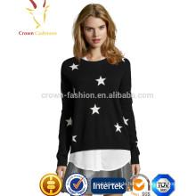 Solid Color Star Patten Intarsien Kaschmirpullover Design für Mädchen