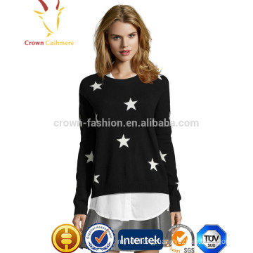 Solid Color Star Patten Intarsia Cashmere Sweater design For Girls