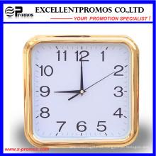 Marco de oro de impresión de logotipo de plástico cuadrado reloj de pared (item27)