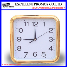 Gold Frame Logo Impression Square Plastic Wall Clock (Item27)