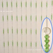 Cortina de cuentas redondas de cristal verde como regalos