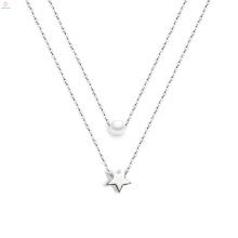 Frauen Schmuck Stern Perle Silber Pentagramm Anhänger Halskette